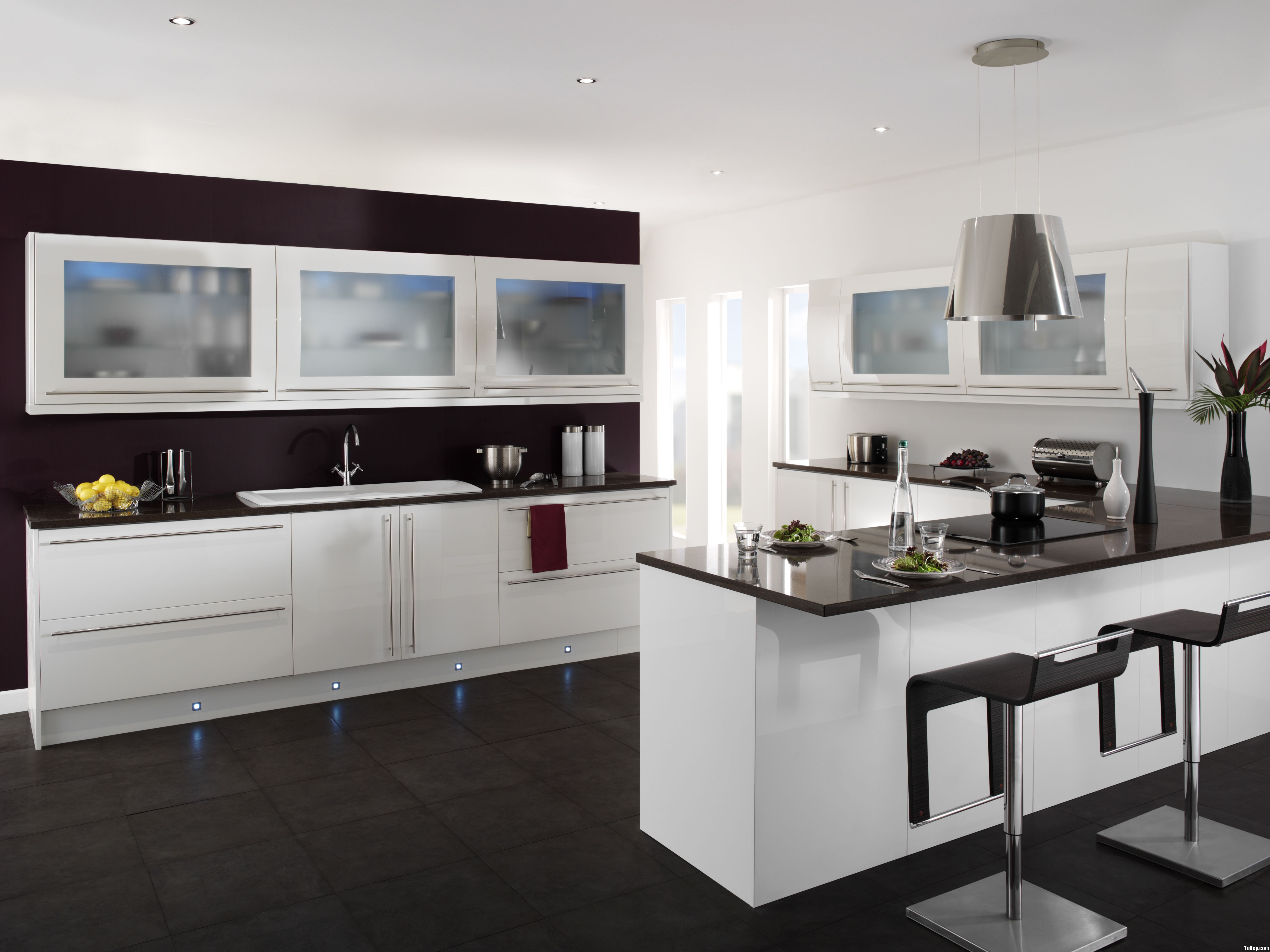 decoration-kitchen-beautiful-white-hardwood-kitchen-cabinet-system-with-frosted-glass-door-and-cool-black-acrylic-countertop-as-well-as-white-porcelain-kitchen-washbasin-in-modern-black-and-white-kit